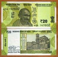 India, 20 Rupees, 2019, P-New, UNC > Gandhi, Redesigned, New Colors - India