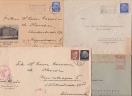 Empire. 10 ZENSUR Letters Send To Denmark. Law Starting Price - Briefe U. Dokumente