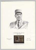 Feuillet : Général Charles De Gaulle Avec Vignette (plaqué Or) - De Gaulle (General)