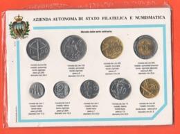 1989 San Marino 9 Coins X Tourist Saint Marin Monete Da 1 A 100 Lire Mai State Fatte Circolare - San Marino
