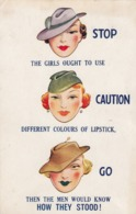 """Lipstick Colors , """"STOP , CAUTION And GO"""" , 1936 - Humour"""