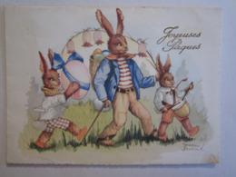 Illustrateur Illustrateurs Dessin Lapin Humanisé Musicien Jean Bukat - Pâques