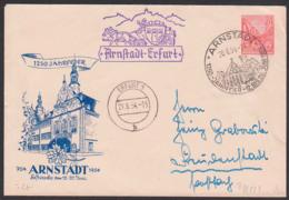 Arnstadt - Erfurt, DDR Privatumschlag 24 Pfg. 5-Jahrplan DDR 1250 Jahre Sonderbeförderung Postkutsche 20.6.54 - [6] Democratic Republic