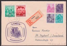 Leipzig Briefmarkenschau 1954, Sachsen-Dreier, DDR Privatumschlag 6 Pfg. 5-Jahrplan DDR PU 11/03 R-Bf Hartha, St Ingbert - [6] Repubblica Democratica
