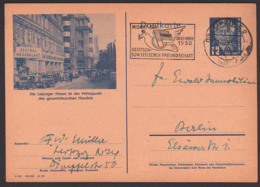 Bildpostkarte Leipziger Messe DDR P47/03 Gesamtdeutsche Handel, MWSt. Monat Der Deutsch-Sowjetischen Freundschaft - DDR