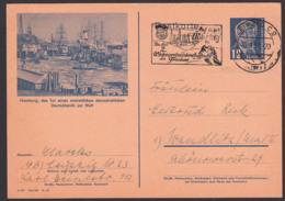 """Bildpostkarte Hamburg Hafen DDR P47/02, MWSt. Leipzig """"Auf Nach Oberhof 2. Wintersportmeisterschaften Des Friedens"""" - [6] República Democrática"""