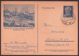 Hamburg Hafen DDR P47/02, Eichwalde Kr. Teltow, Tor Eines Einheitlichen Demokratischen Deutschlands Zur Welt - Postales - Usados