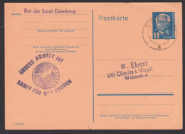 "Propaganda Stpl.""Unsere Arbeit Ist Kampf Für Den Frieden"" Paece, Rat Der Stadt Elsterberg 12 Pfg. GA W. Pieck Rs. Text - Marcofilie - EMA (Print Machine)"