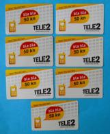 """TELE2 ... """" Bla Bla """"  Bon - 50. Kn  * Croatia * Lot Of 7. Cards With Different Expiry Date - Kroatien"""
