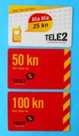 "TELE2 ... "" Bla Bla ""  Bon - 25 - 50 - 100 Kn  * Croatia * Lot Of 3. Prepaid Cards - Kroatien"