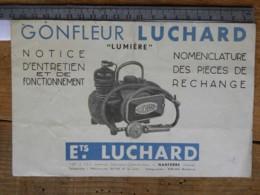 """Dépliant Ets Luchard NANTERRE (Seine) Gonfleur """"Lumière"""" Notice D'entretien Nomenclature De Pièces De Rechange - Machines"""