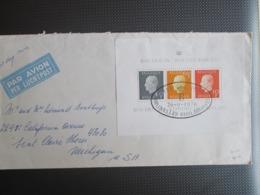 1811/13 - Blok 50 Op Luchtpostbrief Naar Michigan USA - Belgium