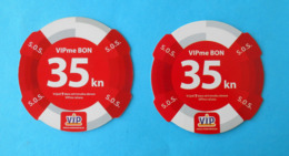 VIP Me Bon - 35. Kn  * Croatia * Lot Of 2. Prepaid Cards With Different Code Font ( 31.12.2007.) - Kroatien