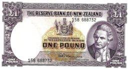 NEW ZEALAND 1 POUND PURPLE COOK DARKER FRONT SHIP BACK ND(1967) VF  WITH SECURITY THREAD P.159d LAST READ DESCRIPTION!! - Nieuw-Zeeland