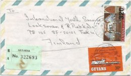 Guyana 1988 Benab Easter Overprint 320c On 6c Scott 1816 Rover Steamer Registered Cover - Guyana (1966-...)