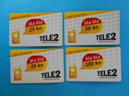 """TELE2 ... """" Bla Bla """"  Bon - 25 - 50 - 100 Kn  * Croatia * Lot Of 4. Different Prepaid Cards - Kroatien"""