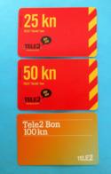 """TELE2 ... """" Bla Bla """"  Bon - 25 - 50 - 100 Kn  * Croatia * Lot Of 3. Different Prepaid Cards - Kroatien"""