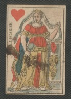 """Carte A Jouer Ancienne - Fin 18° ? Debut 19° Siecle ? """" Hildegarde Coeur """" Dos Vierge -  Empire ? - Playing Cards (classic)"""