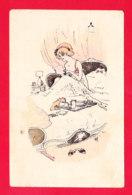Illust-1873Ph66 Jeune Femme Au Lit, Au Verso Pub Café Bar Liquoriste, Rue De Turenne Et Rue Saint Antoine, Cpa - Künstlerkarten