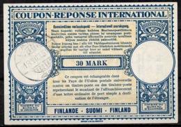 FINLANDE SUOMI FINLAND Lo15A 30 MARK InternationalReply Coupon Reponse Antwortschein IRC IAS O LAHTI 18.7.55 - Enteros Postales