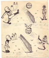 Humor Humour - Originele Tekening Cartoon - Hitler - Mussolini - Militaria