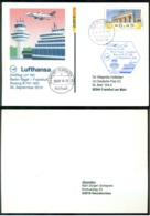 Deutschland 2010 Spezial Postkarte Erstflug Frankfurt - Berlin-Tegel Lufhansa B747-400 Blau Stempel - Cartoline - Usati
