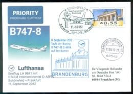 Deutschland 2012 Spezialumschlag Ganzsache Erstflug B747-8 Intercontinental Berlin (Schönefeld) - Frankfurt - Altri