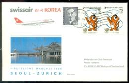 South Korea 1986 First Flight Swissair B747-300 Seaoul - Zürich - Corée Du Sud
