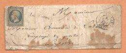 """Ardéche --LETTRE, Cursive """"Les Ollières"""" + Timbre Obl. 2320 + Cachet PRIVAS 1854 - Lettre Avec Sa Correspondance-3 Scans - 1801-1848: Précurseurs XIX"""