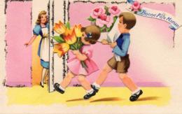 BONNE FETE MAMAN - Enfants Offrant Des Fleurs, Découpis - Enfants