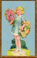 Enfant, Fillette Portant Un Panier De Fleurs, Découpi - Enfants
