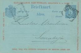 Nederlands Indië - 1896 - 5 Cent Cijfer, Briefkaart G10 Particulier Bedrukt Bataviaasch Nieuwsblad Naar Soerabaja - Indes Néerlandaises