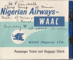WAAC NIGERIAN AIRWAYS PASSENGER TICKET & BAGGAGE CHECK LAGOS 1960 - Vliegtickets