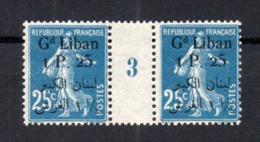 !!! PRIX FIXE : GRAND LIBAN, PAIRE DU 25C SEMEUSE N°27 AVEC MILLESIME 3 NEUVE ** - Nuevos