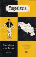 1957/58 BRITISH RAILWAYS TIMETABLE YUGOSLAVIA - Europe