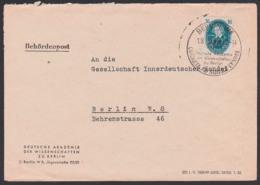 Jacob Grimm BERLIN Akademie Der Wissenschaften 16 Pfg. DDR 267, SoSt. 1.8.52, Behördenpost, COGNATA AD SIDERATENDE - DDR