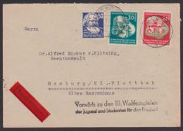 """DDR Eil-Brf Portogenau Nach Hamburg Propagandast. """"Vorwärts Z Den III. Weltfestspielen.."""" Dessow /Neustadt (Dosse) - [6] Democratic Republic"""