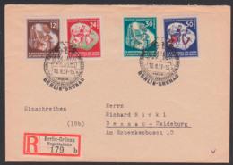 Berlin-Grünau Regattabahn R-Zettel Auf Satzbrief 18.8.51 Mit DDR 289/92 Weltfestspiele Nach Dessau - [6] Democratic Republic