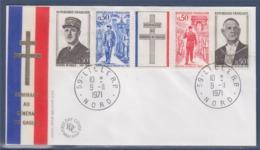 = Général De Gaulle Enveloppe Luxe Impression Sur Soie Lille 9.11.71 Bande 1698A 1695 1696 1697 1698 - De Gaulle (General)