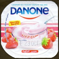 "Opercule Cover Yaourt Yogurt "" Danone "" Brassé Fraise Strawberry Yoghurt Yoghourt Yahourt Yogourt - Milk Tops (Milk Lids)"