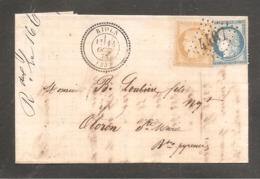 Lettre Facture Draperie  Oblit  RIOLS   HERAULT  15c Et 25c Ceres - 1849-1876: Période Classique