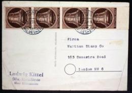 Nr. 75 Viererstreifen (MEF) Aus Kleinförste über Hildesheim Postkarte Nach London ! - Berlin (West)