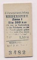 BRD - Pappfahrkarte (Reichsbahn)  :  Eilzugzuschlag Zone 1- Niederspier - Railway