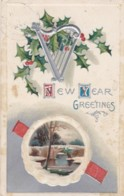 AR70 Greetings - New Year Greetings - Embossed, Holly, Snow, River, Bridge - New Year