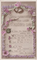 AR70 Greetings - Fond Greetings For Your Wedding Day - Flowers, Bells - Holidays & Celebrations