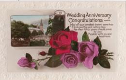 AR70 Greetings - Wedding Anniversary Congratulations - Flowers, Church, Bridge - Holidays & Celebrations