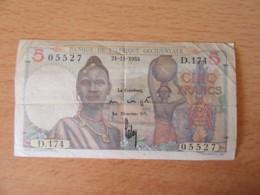 Banque De L'Afrique Occidentale - Billet 5 Francs 21-11-1953 - Alphabet D.174 / 05527 - États D'Afrique De L'Ouest