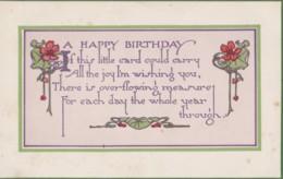 AS94 Greetings - A Happy Birthday - Flowers, Verse - Birthday