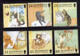 ALDERNEY 1996 IN PRAISE OF THE CAT GATTO PET ANIMAL COMPLETE SET SERIE COMPLETA MNH - Alderney