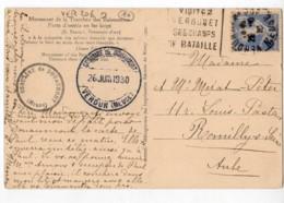 VERDUN Meuse Daguin (VER206) 1930, Semeuse 40c Outremer N°237, Carte Tranchée Des Baionnettes - Oblitérations Mécaniques (flammes)
